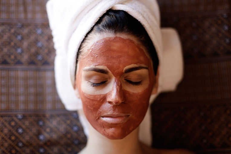 Woman with Skin Clays mask